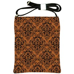 Damask1 Black Marble & Rusted Metal Shoulder Sling Bags