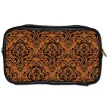 DAMASK1 BLACK MARBLE & RUSTED METAL Toiletries Bags 2-Side Front