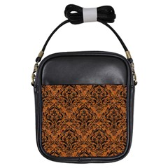 Damask1 Black Marble & Rusted Metal Girls Sling Bags by trendistuff