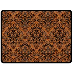 Damask1 Black Marble & Rusted Metal Fleece Blanket (large)  by trendistuff