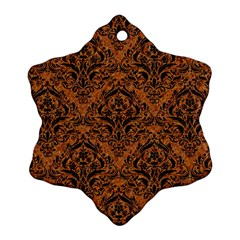 DAMASK1 BLACK MARBLE & RUSTED METAL Snowflake Ornament (Two Sides)