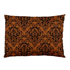 DAMASK1 BLACK MARBLE & RUSTED METAL Pillow Case (Two Sides)