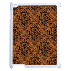 DAMASK1 BLACK MARBLE & RUSTED METAL Apple iPad 2 Case (White)