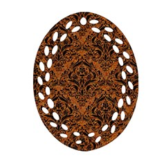 DAMASK1 BLACK MARBLE & RUSTED METAL Ornament (Oval Filigree)