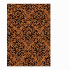 DAMASK1 BLACK MARBLE & RUSTED METAL Small Garden Flag (Two Sides)