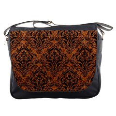 DAMASK1 BLACK MARBLE & RUSTED METAL Messenger Bags