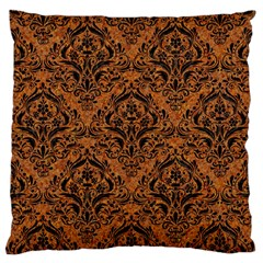 DAMASK1 BLACK MARBLE & RUSTED METAL Large Cushion Case (Two Sides)