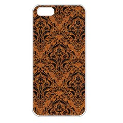 DAMASK1 BLACK MARBLE & RUSTED METAL Apple iPhone 5 Seamless Case (White)