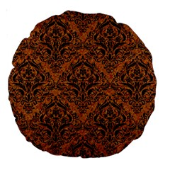 Damask1 Black Marble & Rusted Metal Large 18  Premium Round Cushions by trendistuff