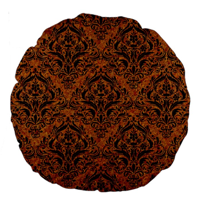 DAMASK1 BLACK MARBLE & RUSTED METAL Large 18  Premium Round Cushions