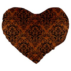 DAMASK1 BLACK MARBLE & RUSTED METAL Large 19  Premium Heart Shape Cushions