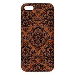 Damask1 Black Marble & Rusted Metal Apple Iphone 5 Premium Hardshell Case by trendistuff