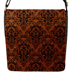 Damask1 Black Marble & Rusted Metal Flap Messenger Bag (s) by trendistuff