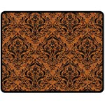 DAMASK1 BLACK MARBLE & RUSTED METAL Double Sided Fleece Blanket (Medium)  58.8 x47.4 Blanket Front