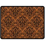 DAMASK1 BLACK MARBLE & RUSTED METAL Double Sided Fleece Blanket (Large)  80 x60 Blanket Back