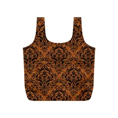 DAMASK1 BLACK MARBLE & RUSTED METAL Full Print Recycle Bags (S)