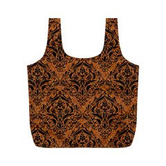 DAMASK1 BLACK MARBLE & RUSTED METAL Full Print Recycle Bags (M)