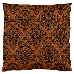 DAMASK1 BLACK MARBLE & RUSTED METAL Large Flano Cushion Case (One Side)