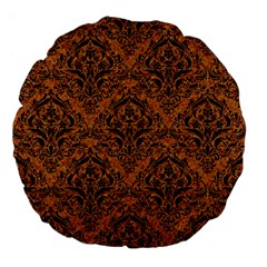 DAMASK1 BLACK MARBLE & RUSTED METAL Large 18  Premium Flano Round Cushions