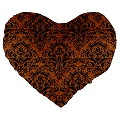 DAMASK1 BLACK MARBLE & RUSTED METAL Large 19  Premium Flano Heart Shape Cushions