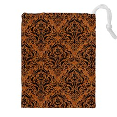 DAMASK1 BLACK MARBLE & RUSTED METAL Drawstring Pouches (XXL)