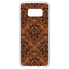 DAMASK1 BLACK MARBLE & RUSTED METAL Samsung Galaxy S8 White Seamless Case