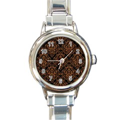 DAMASK1 BLACK MARBLE & RUSTED METAL (R) Round Italian Charm Watch