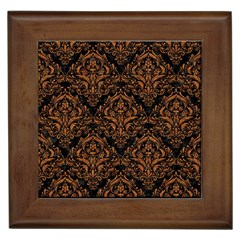 DAMASK1 BLACK MARBLE & RUSTED METAL (R) Framed Tiles