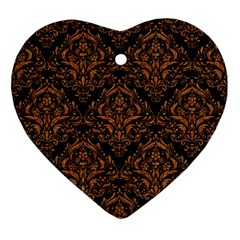 DAMASK1 BLACK MARBLE & RUSTED METAL (R) Ornament (Heart)