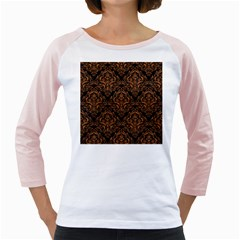 DAMASK1 BLACK MARBLE & RUSTED METAL (R) Girly Raglans
