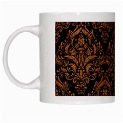 DAMASK1 BLACK MARBLE & RUSTED METAL (R) White Mugs