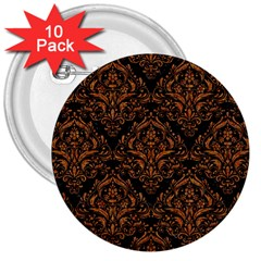 DAMASK1 BLACK MARBLE & RUSTED METAL (R) 3  Buttons (10 pack)