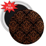 DAMASK1 BLACK MARBLE & RUSTED METAL (R) 3  Magnets (10 pack)  Front