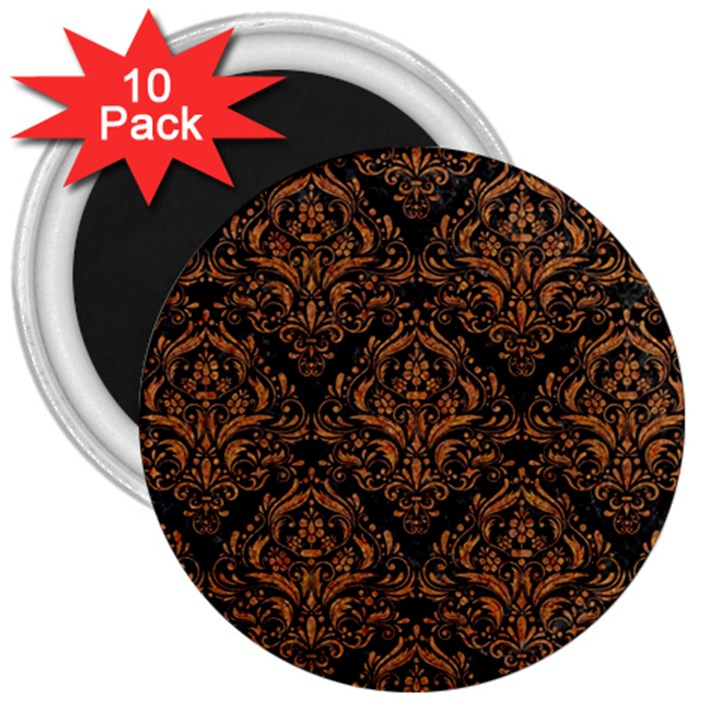 DAMASK1 BLACK MARBLE & RUSTED METAL (R) 3  Magnets (10 pack)