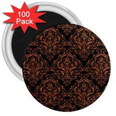 DAMASK1 BLACK MARBLE & RUSTED METAL (R) 3  Magnets (100 pack)