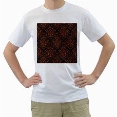 DAMASK1 BLACK MARBLE & RUSTED METAL (R) Men s T-Shirt (White) (Two Sided)