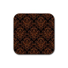 DAMASK1 BLACK MARBLE & RUSTED METAL (R) Rubber Coaster (Square)