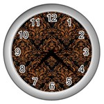DAMASK1 BLACK MARBLE & RUSTED METAL (R) Wall Clocks (Silver)  Front