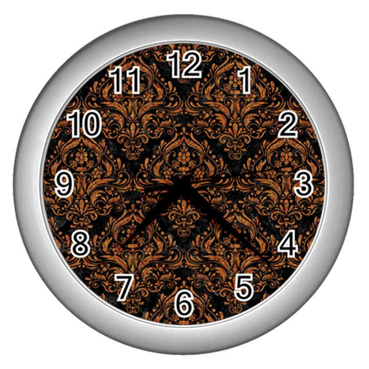 DAMASK1 BLACK MARBLE & RUSTED METAL (R) Wall Clocks (Silver)