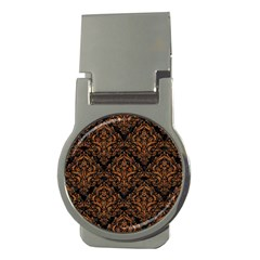 DAMASK1 BLACK MARBLE & RUSTED METAL (R) Money Clips (Round)