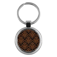 DAMASK1 BLACK MARBLE & RUSTED METAL (R) Key Chains (Round)