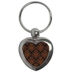 DAMASK1 BLACK MARBLE & RUSTED METAL (R) Key Chains (Heart)
