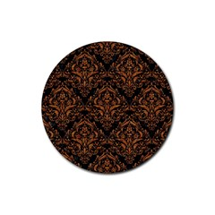 DAMASK1 BLACK MARBLE & RUSTED METAL (R) Rubber Round Coaster (4 pack)