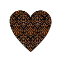 DAMASK1 BLACK MARBLE & RUSTED METAL (R) Heart Magnet