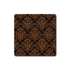 DAMASK1 BLACK MARBLE & RUSTED METAL (R) Square Magnet