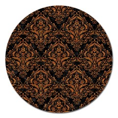 DAMASK1 BLACK MARBLE & RUSTED METAL (R) Magnet 5  (Round)