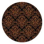 DAMASK1 BLACK MARBLE & RUSTED METAL (R) Magnet 5  (Round) Front