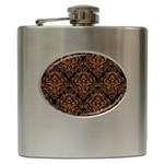 DAMASK1 BLACK MARBLE & RUSTED METAL (R) Hip Flask (6 oz) Front