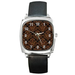 DAMASK1 BLACK MARBLE & RUSTED METAL (R) Square Metal Watch