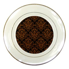 DAMASK1 BLACK MARBLE & RUSTED METAL (R) Porcelain Plates